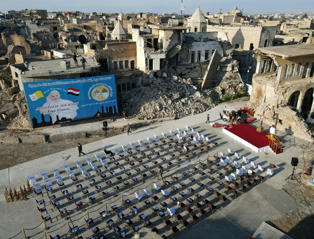 The rows of seats were set out in the ruins of the Syrian Catholic Church for the Immaculate Conception in Mosul's Old Town ahead of Pope Francis' visit