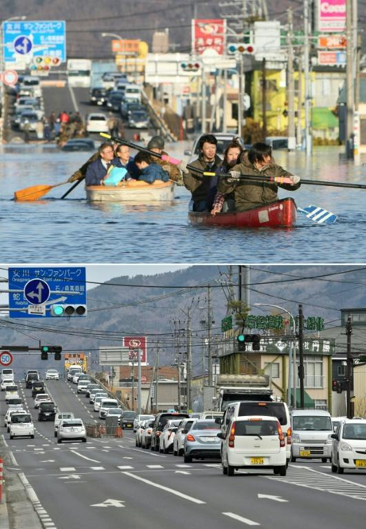 People (top) evacuated by boat down a road flooded by the tsunami waves in the city of Ishinomaki on March 12, 2011; and the same area (bottom) is pictured nearly 10 years