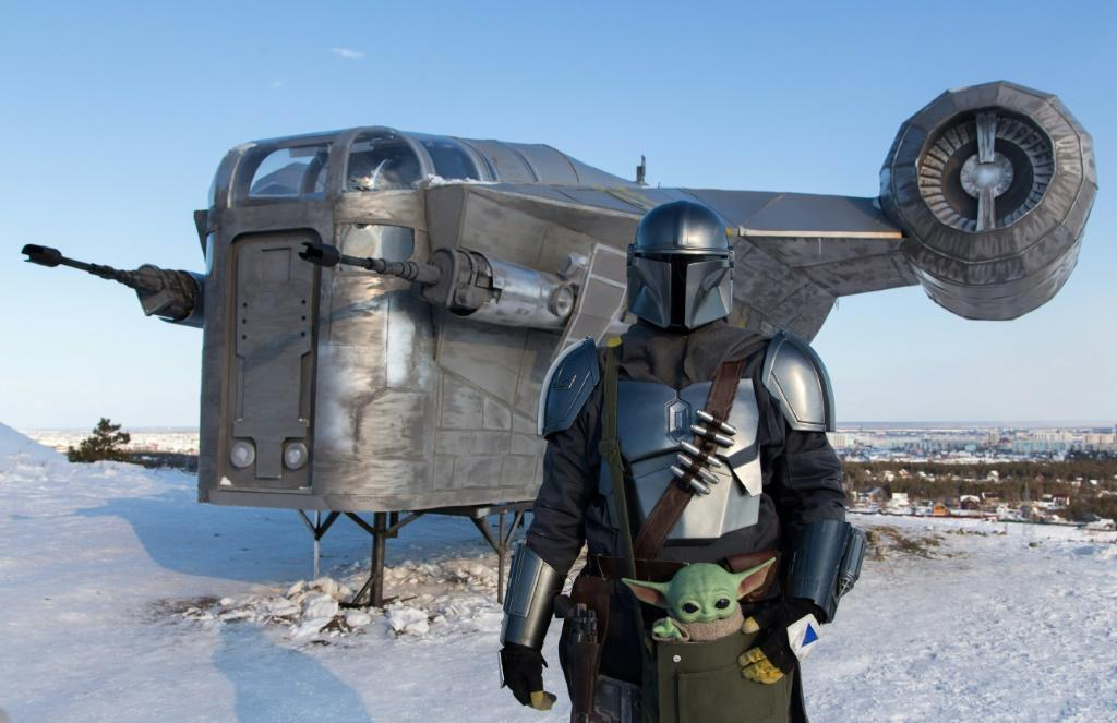 """Star Wars fans in Russia have built a giant replica of a spaceshipfrom the spinoff series """"The Mandalorian"""" and installed it in a park in one of the coldest cities on Earth, Yakutsk"""