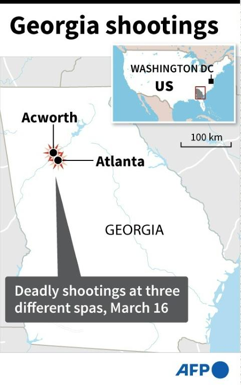 Map of the US state of Georgia locating Hall County where a liquid nitrogen leak at a food-processing plant killed at least six people on Thursday.