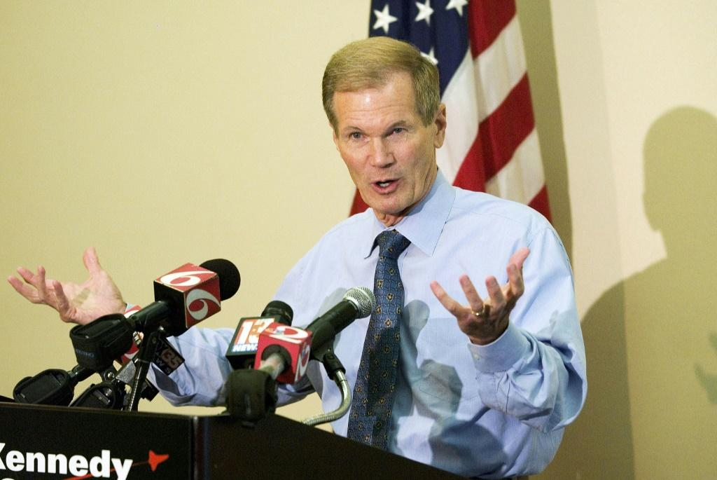 Bill Nelson (D-FL) speaks during a press conference after meeting with NASA officials at the Kennedy Space Center