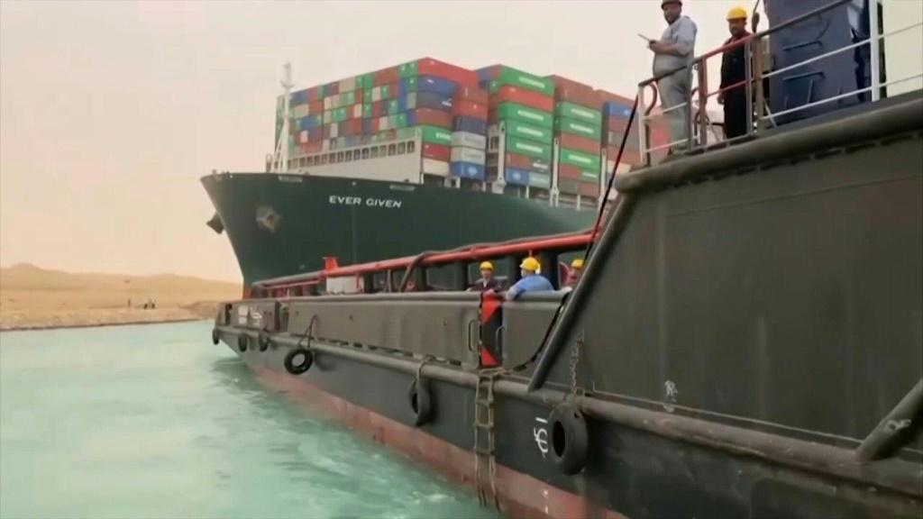 A giant container ship, almost as long as New York's Empire State Building is high, got stuck during a sandstorm in Egypt's Suez Canal, causing a traffic jam of cargo ships through one of the world's busiest shipping lanes.