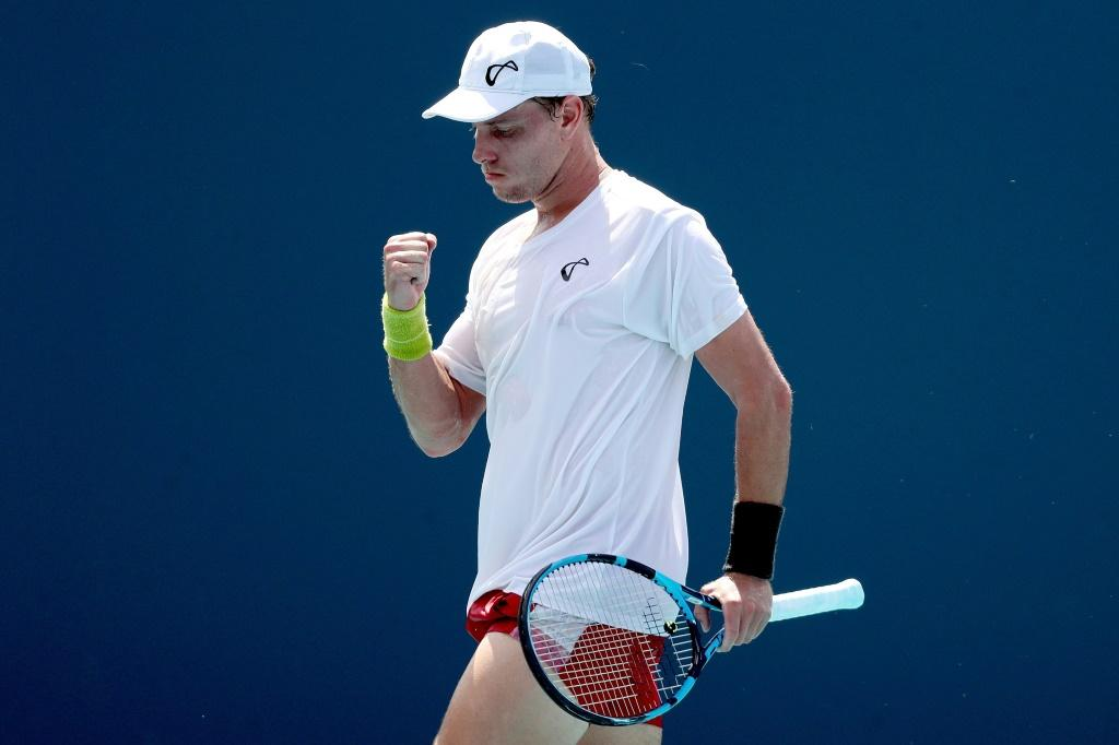 Australian James Duckworth celebrates a point in his second-round win over eighth-seeded David Goffin of Belgium in the Miami Open ATP and WTA hardcourt tennis tournament