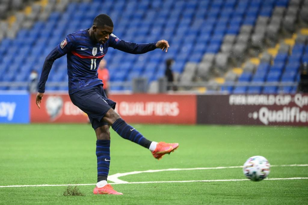 On the front foot: Ousmane Dembele set France on the way to victory with the opening goal in Kazakhstan