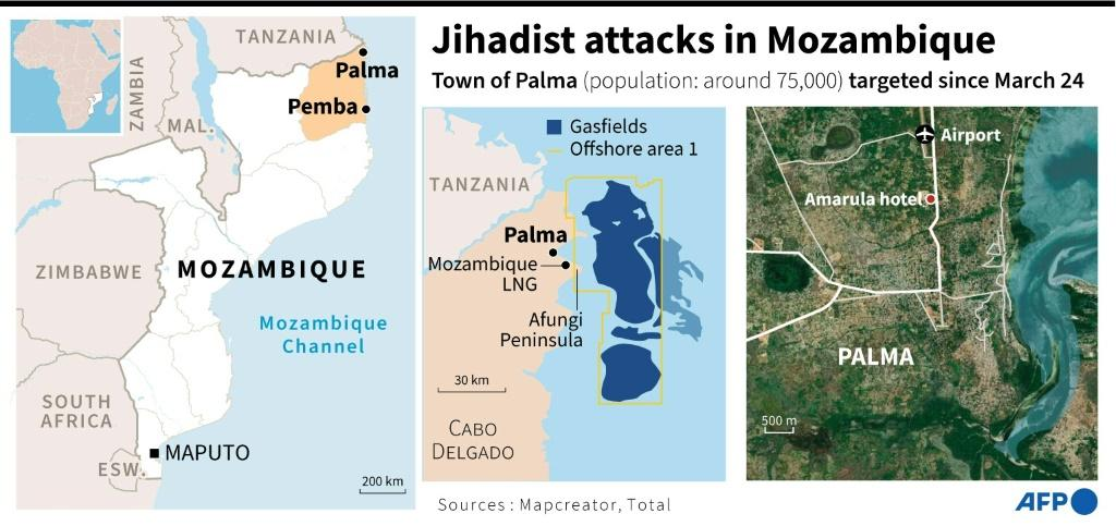 Maps locating the town of Palma, north Mozambique, under jihadist attack, and the Mozambique LNG gas site, owned by Total, located some 10 kilometres away