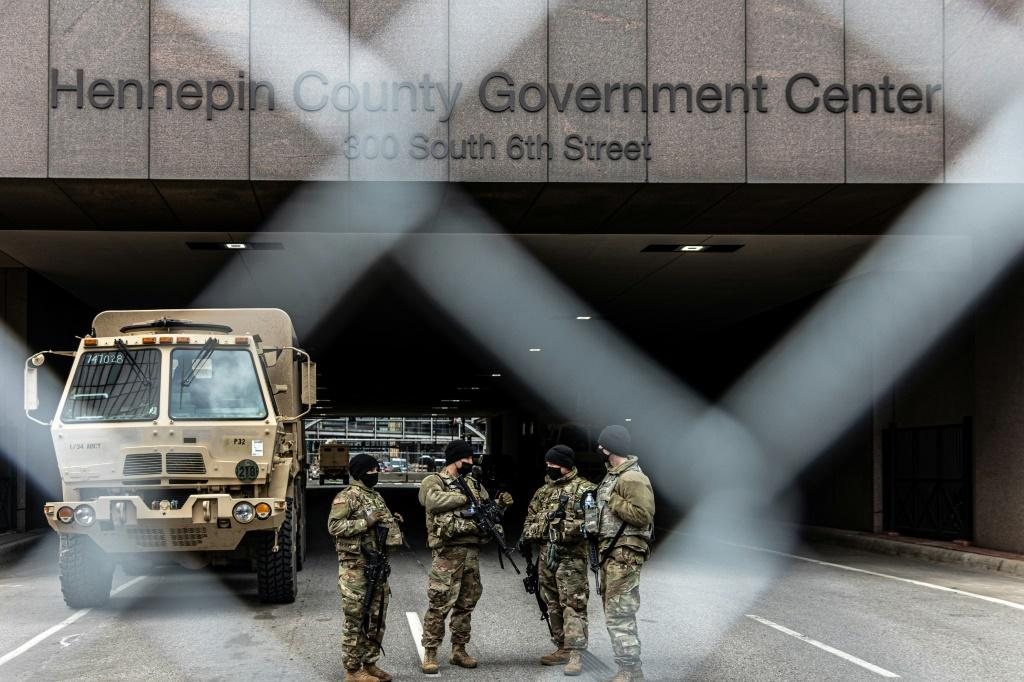 Members of the National Guard providing security at the trial of former Minneapolis police officer Derek Chauvin