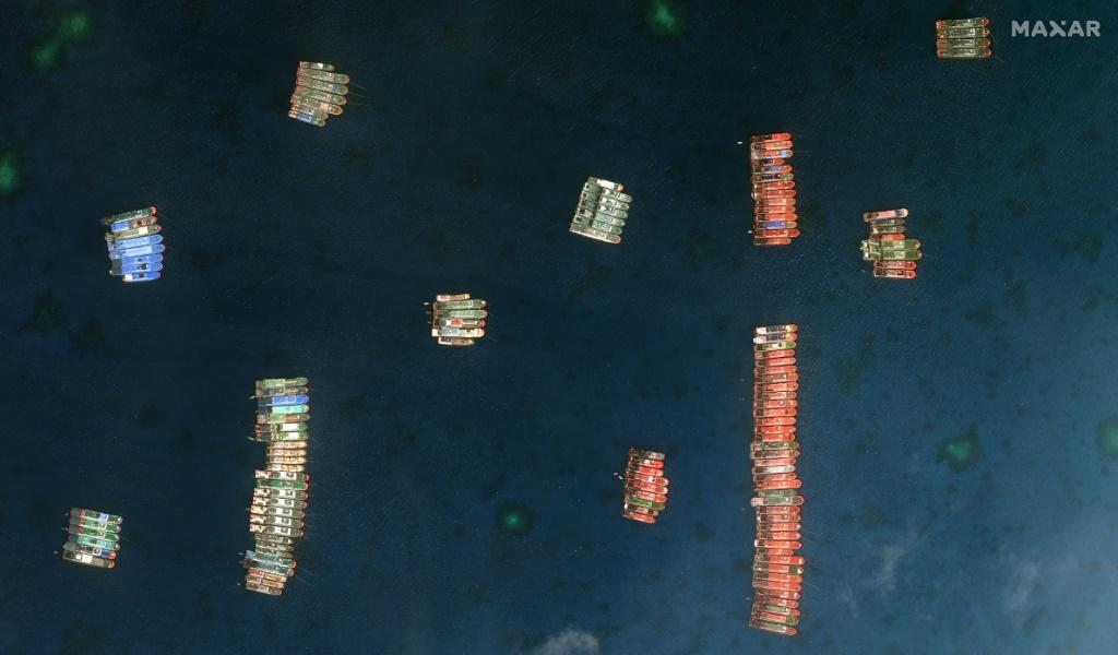 Over two hundred ships were first spotted on March 7 at Whitsun Reef, around 320 kilometres (175 nautical miles) west of Palawan Island in the South China Sea