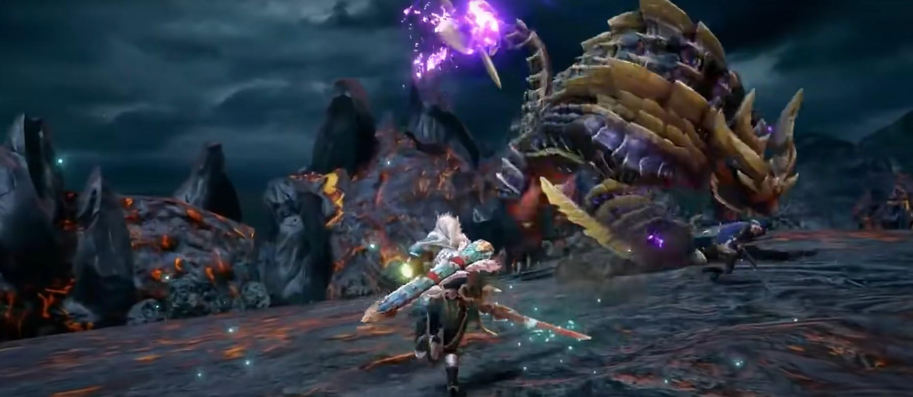Hunters facing off against Magnamalo in Monster Hunter Rise