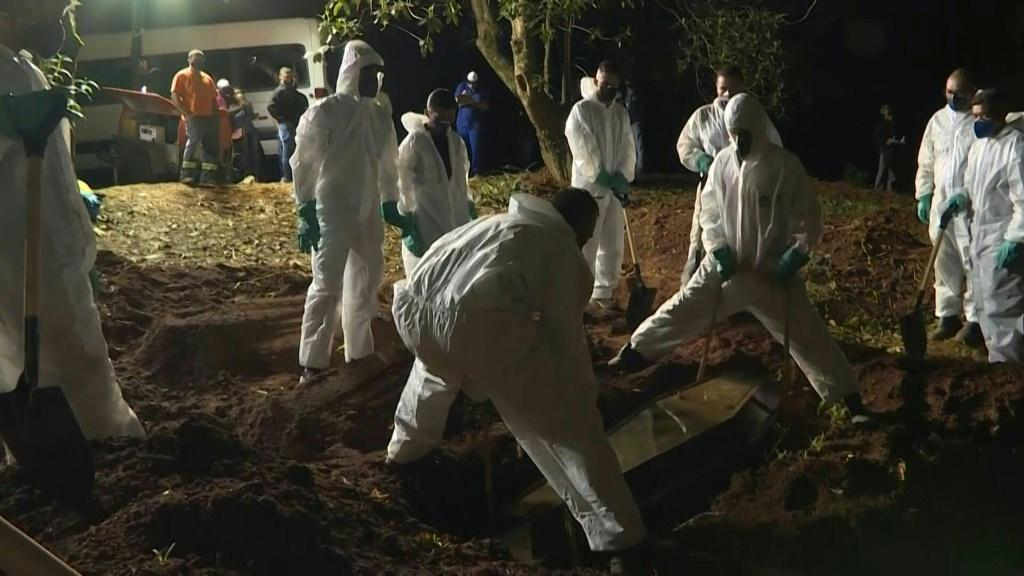 Sao Paulo cemeteries opened at night as Covid-19 deaths in Brazil spiral out of control