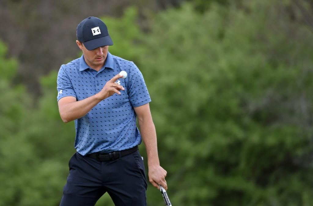 American Jordan Spieth celebrates a birdie at the second hole on the way to victory in the US PGA Tour Texas Open