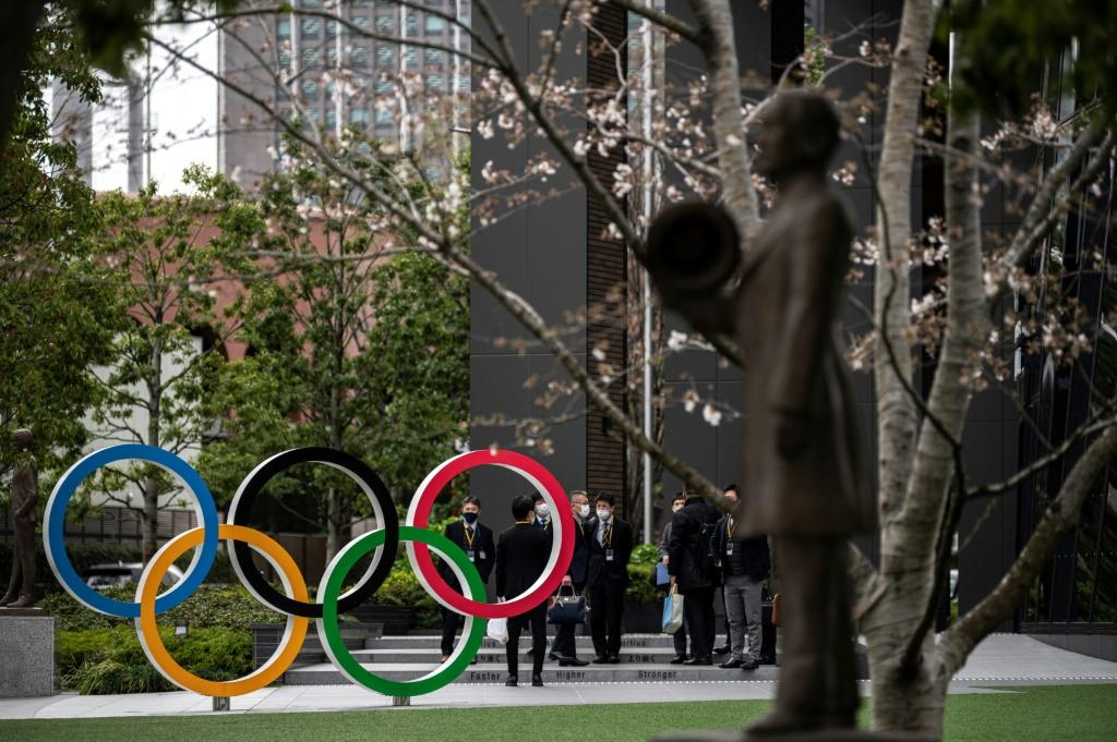 The Olympic Rings on display in Tokyo. North Korea announced Tuesday they will not take part in the delayed Games later this year