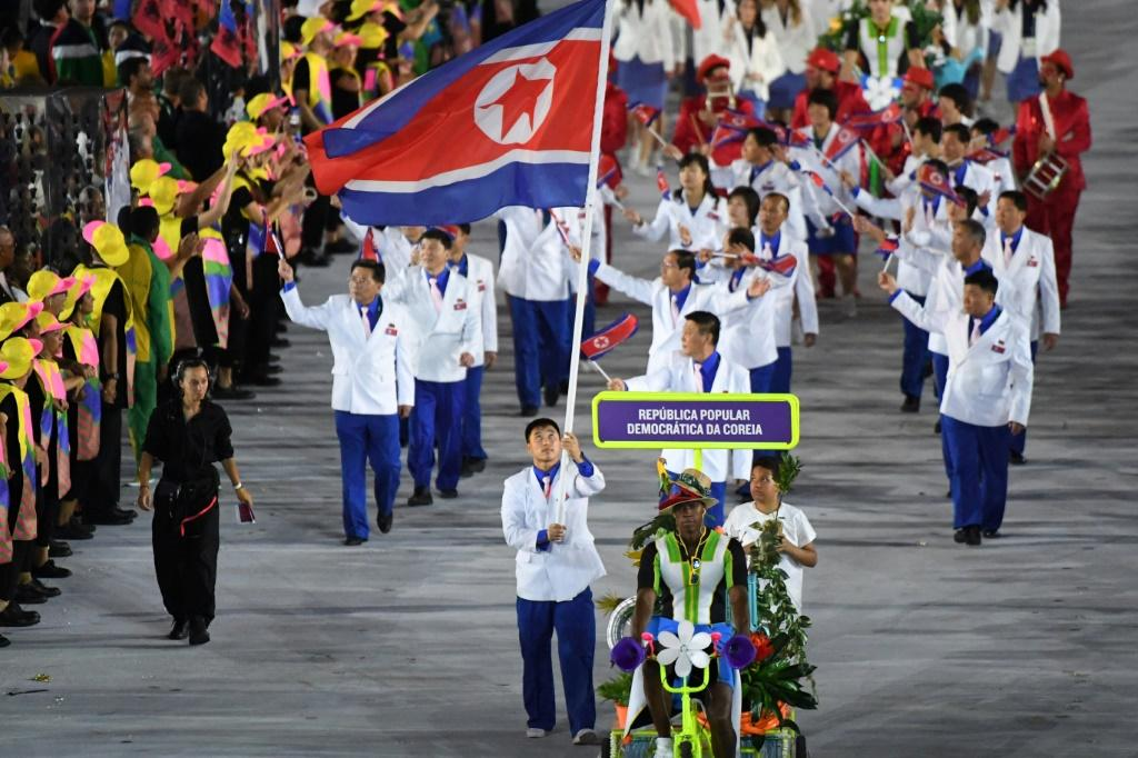 This file photo shows North Korea's delegation during the opening ceremony of the 2016 Olympic Games at the Maracana stadium in Rio de Janeiro