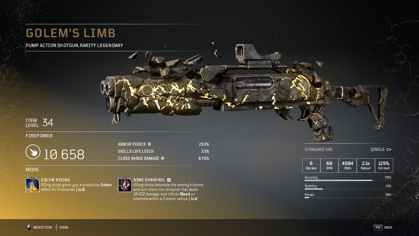 The legendary Golem's Limb shotgun in Outriders