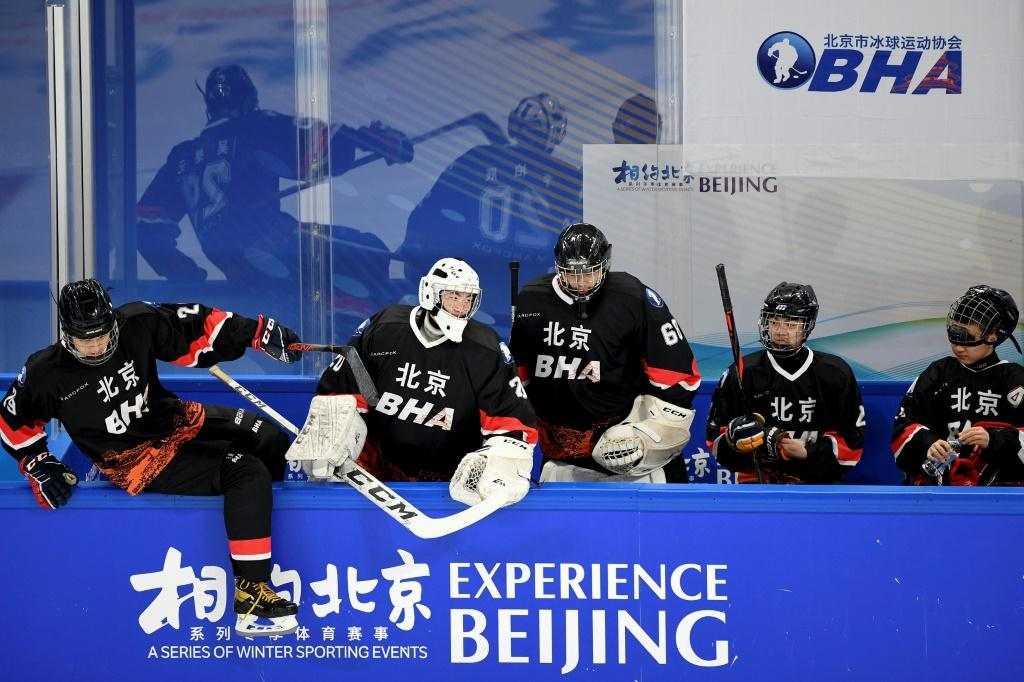 Players are seen at an ice hockey test event for the 2022 Beijing Winter Olympic Games -- the White House says it is not in talks about a possible joint boycott