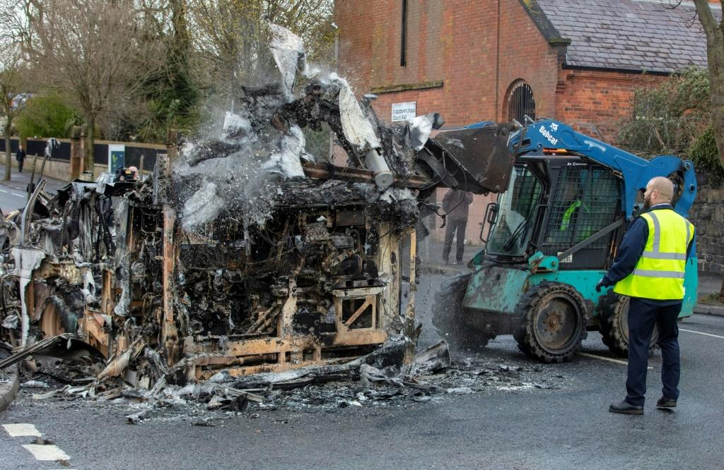 A bus was firebombed in Belfast