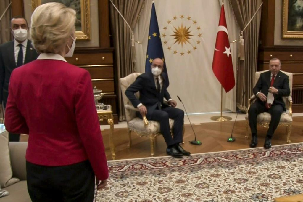 Erdogan and Michel quickly seated themselves while von der Leyen -- whose diplomatic rank is the same as that of the two men -- was left standing