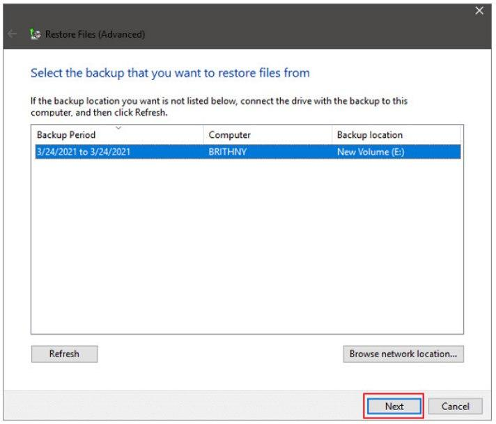 follow recovery process from backup