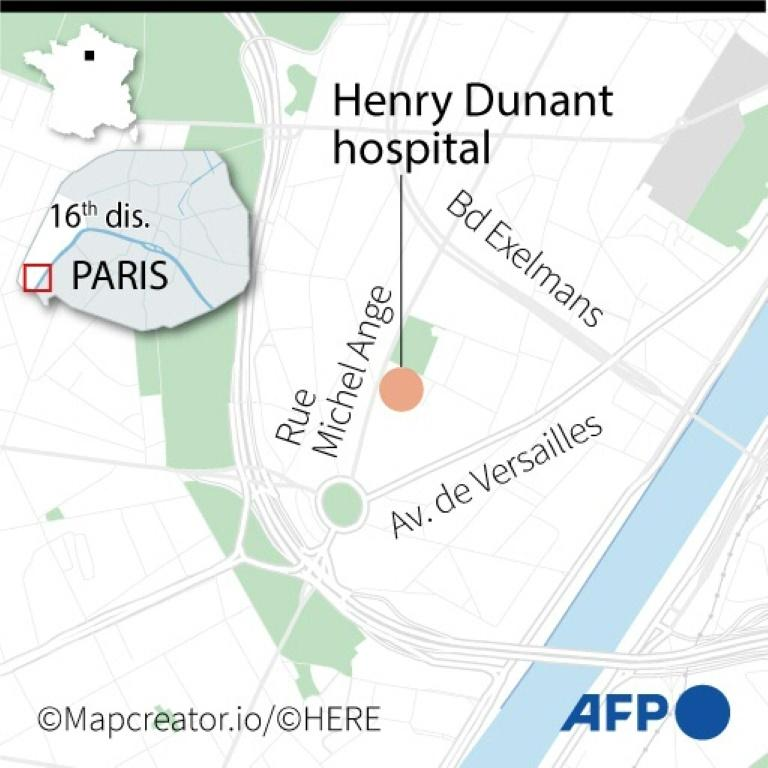A map locating Henry Dunant hospital in Paris