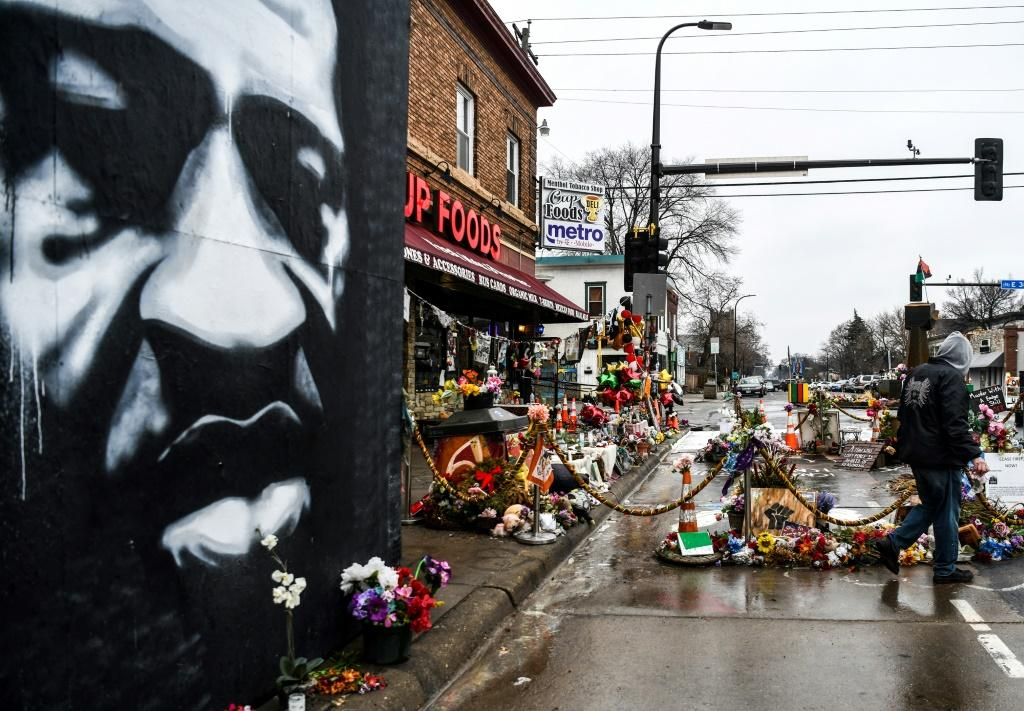 A memorial to George Floyd outside the store where he died on May 25, 2020