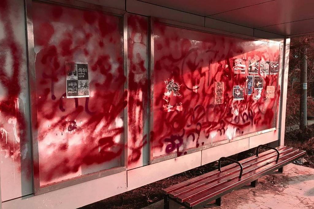 Anti-coup protesters in Myanmar sloshed red paint in the streets on Wednesday to symbolise the blood spilled and more than 700 lives lost