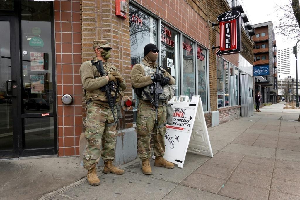 National Guard troops on a street corner near downtown Minneapolis