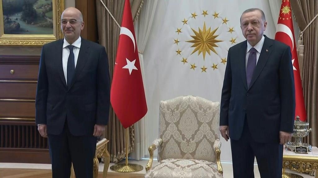 Turkish President Recep Tayyip Erdogan receives Greek Foreign Minister Nikos Dendias in Ankara for talks focused on the two NATO members' dispute over eastern Mediterranean borders and energy exploration rights.