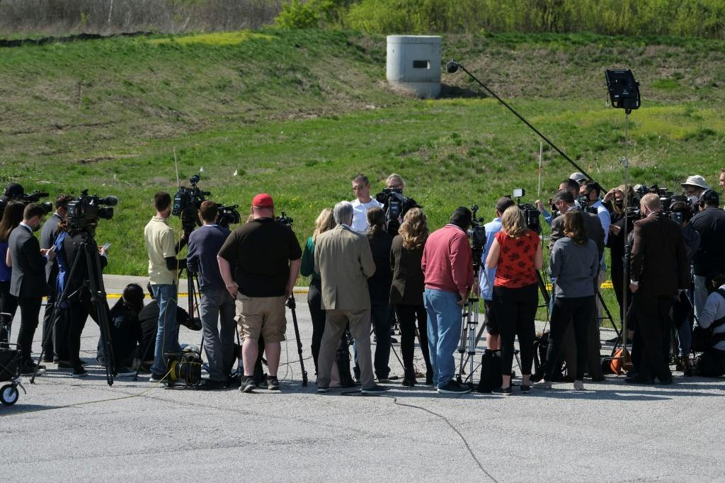 Indianapolis deputy police chief Craig McCartt speaks to reporters at the FedEx facility where the shooting took place, during a press conference on Friday, April 16, 2021