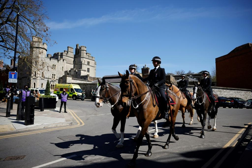 Mounted police officers patrolled the streets of Windsor ahead of the funeral