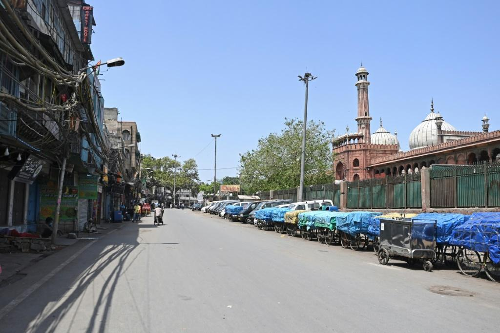Parts of New Delhi were derted Saturday as a new lockdown took hold