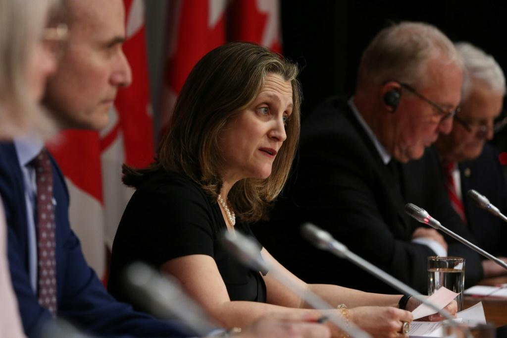 Finance Minister Chrystia Freeland on Monday unveiled a budget that outlines big spending to 'punch way out of Covid recession'