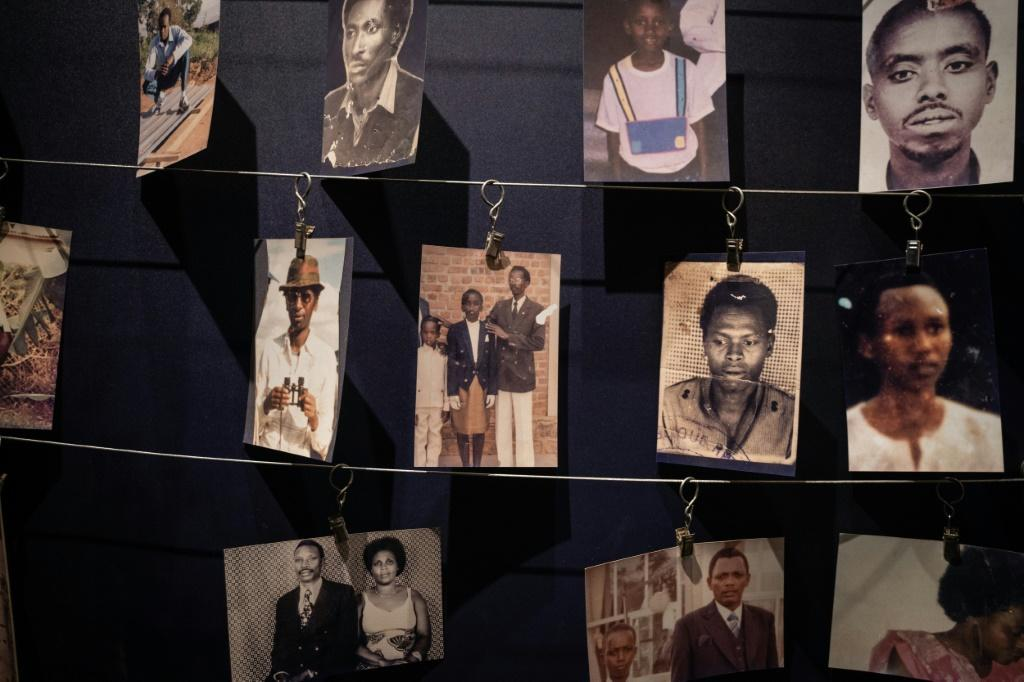 Photos of victims displayed at the Kigali Genocide Memorial