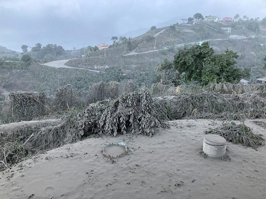 This April 11, 2021 image shows the view from the Belmont Observatory in Saint Vincent as the La Soufriere eruption continues