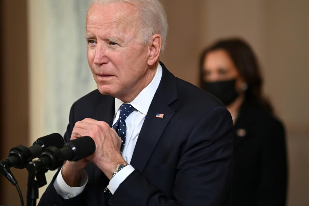 US President Joe Biden gestures as he delivers remarks on the guilty verdict against former policeman Derek Chauvin at the White House in Washington, DC