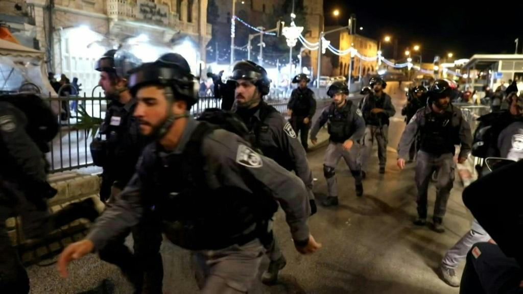 Palestinian protesters clash with Israeli security forces in annexed east Jerusalem, near the Old City, where police had barred access to some areas where Palestinians usually gather in large numbers during the holy Muslim fasting month of Ramadan.