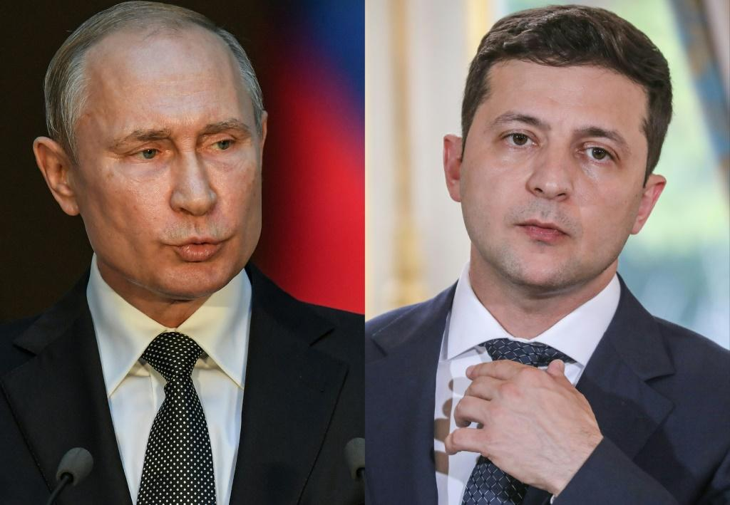 Putin (L) said Zelensky (R) was welcome in Moscow 'anytime' to discuss bilateral relations