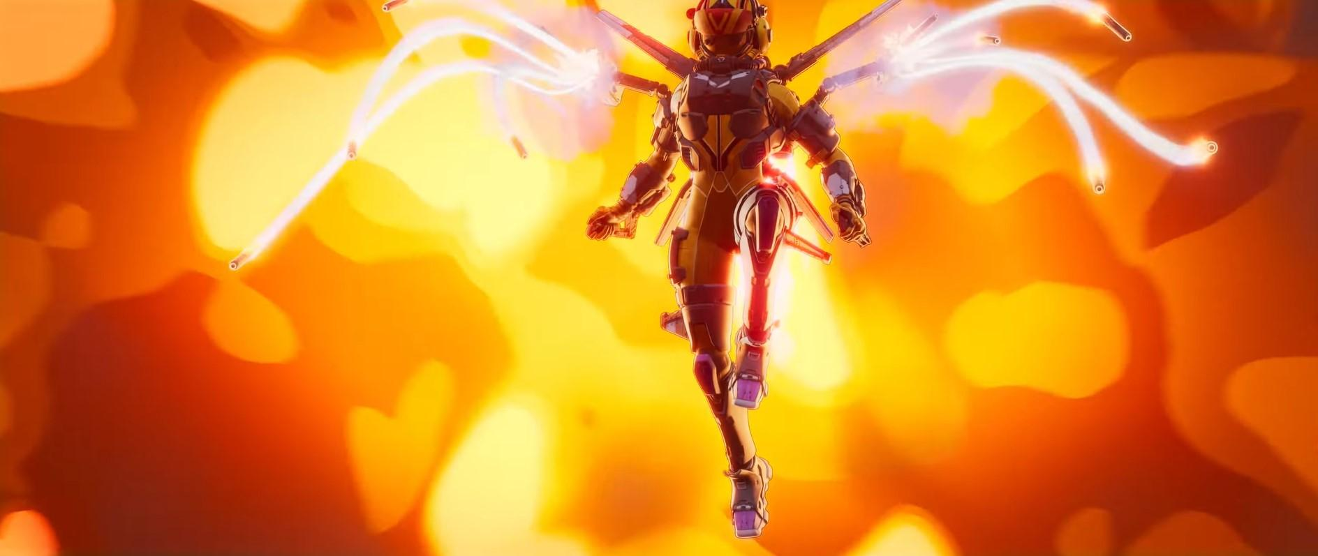 Valkyrie's rocket barrage in the Apex Legends Legacy launch trailer