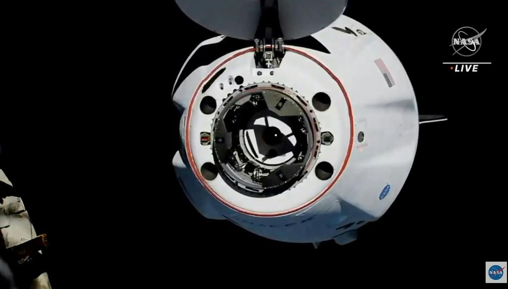 This screen grab taken from the NASA live feed shows the SpaceX's Crew Dragon spacecraft approaching the International Space Station