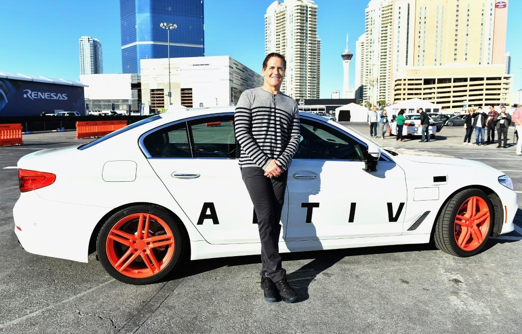 Businessman Mark Cuban arrives at the Lyft and Aptiv self-driving car experience during CES 2018 at the Las Vegas Convention Center