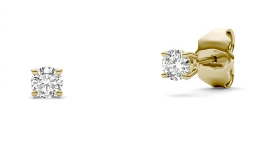 Charles & Colvard Round Moissanite Four Prong Solitaire Stud Earrings