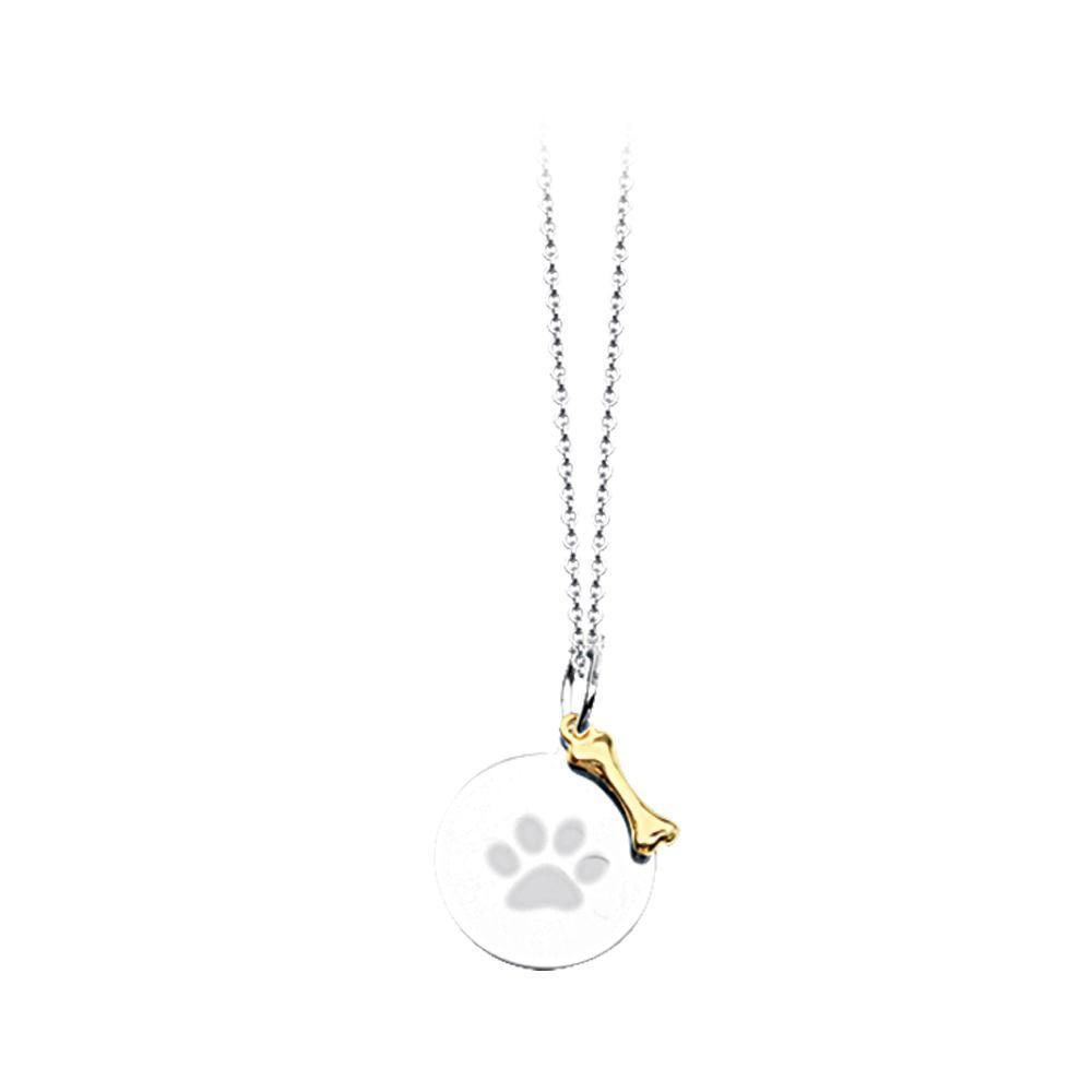 Ritani sterling silver and gold paw print necklace