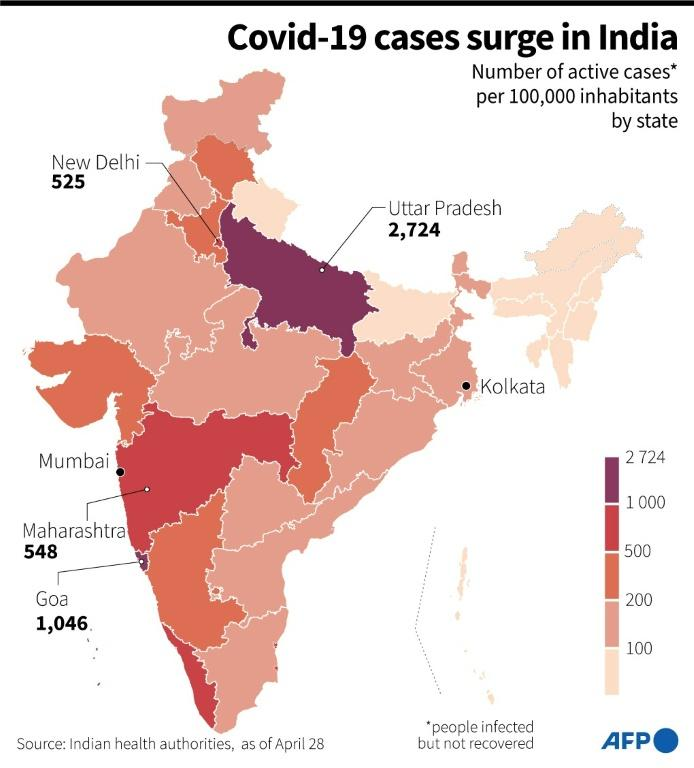 A map showing the number of active cases per 100,000 inhabitants per India state