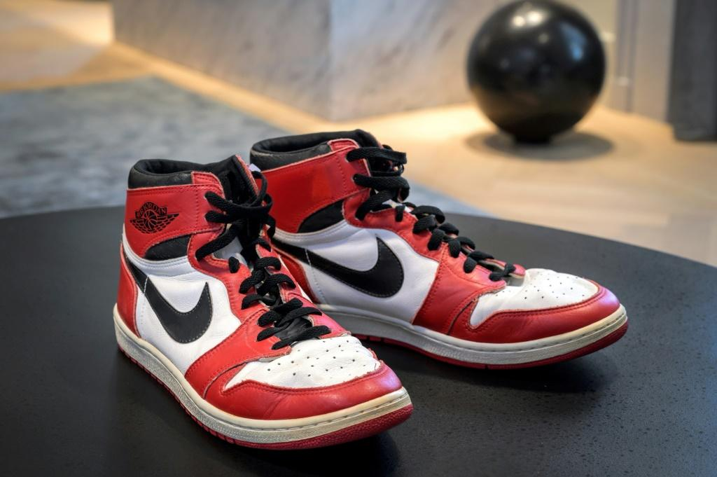 Basketball player Michael Jordan's sneakers, worn during his 1984-1985 debut season, are the star items of the sale
