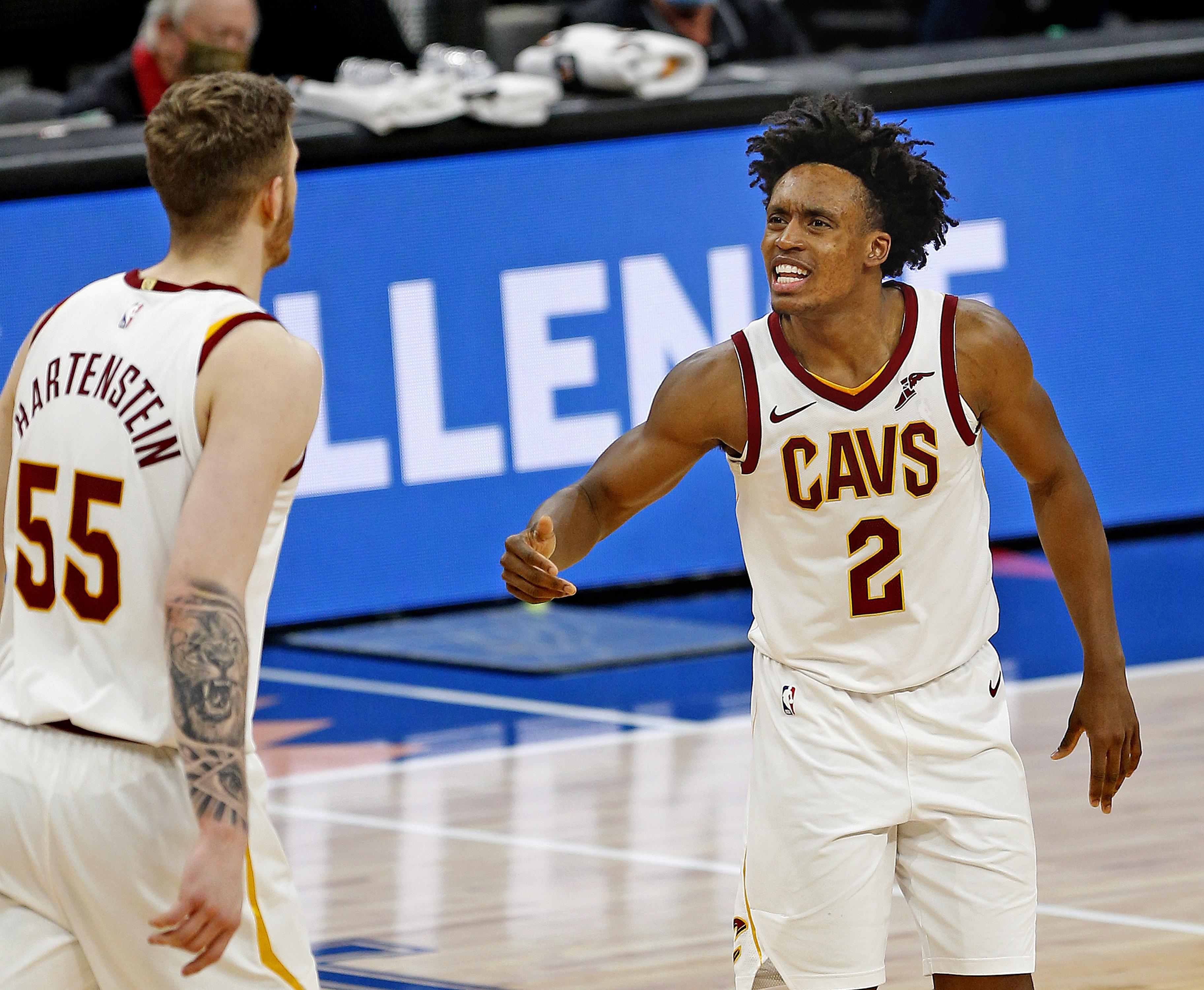 Collin Sexton #2 and Isaiah Hartenstein #55 of the Cleveland Cavaliers