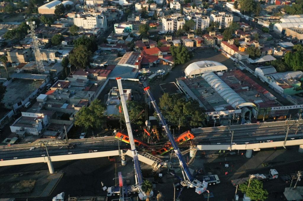 An aerial view shows the site of a metro train accident after an overpass partially collapsed in Mexico City on May 4, 2021