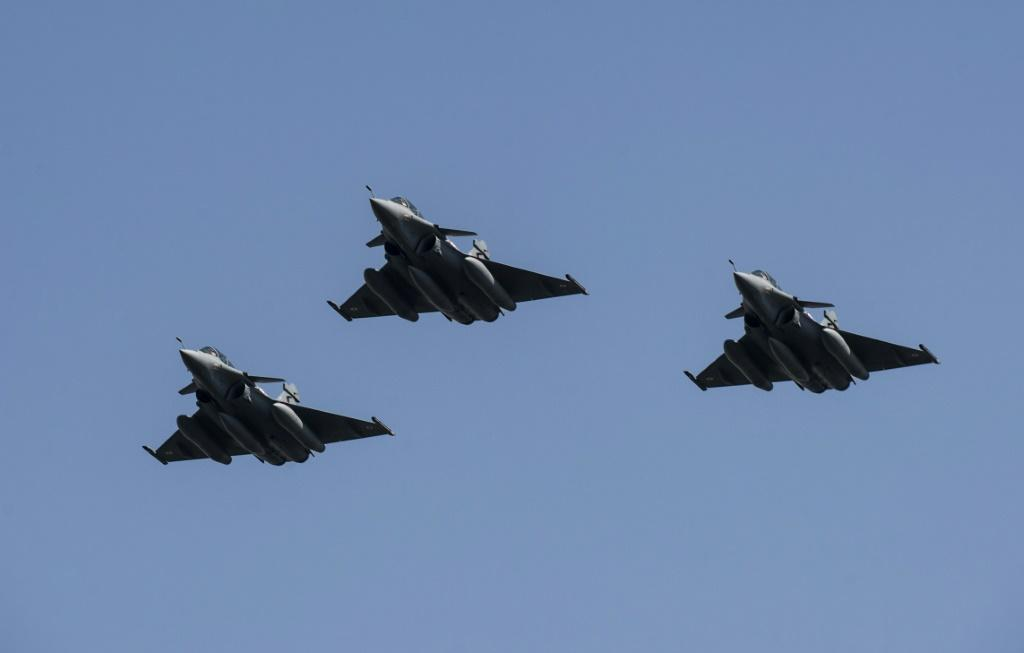 Egypt shows off three Rafale fighter jets newly delivered in 2015 under a previous deal with French defence firm Dassault Aviation