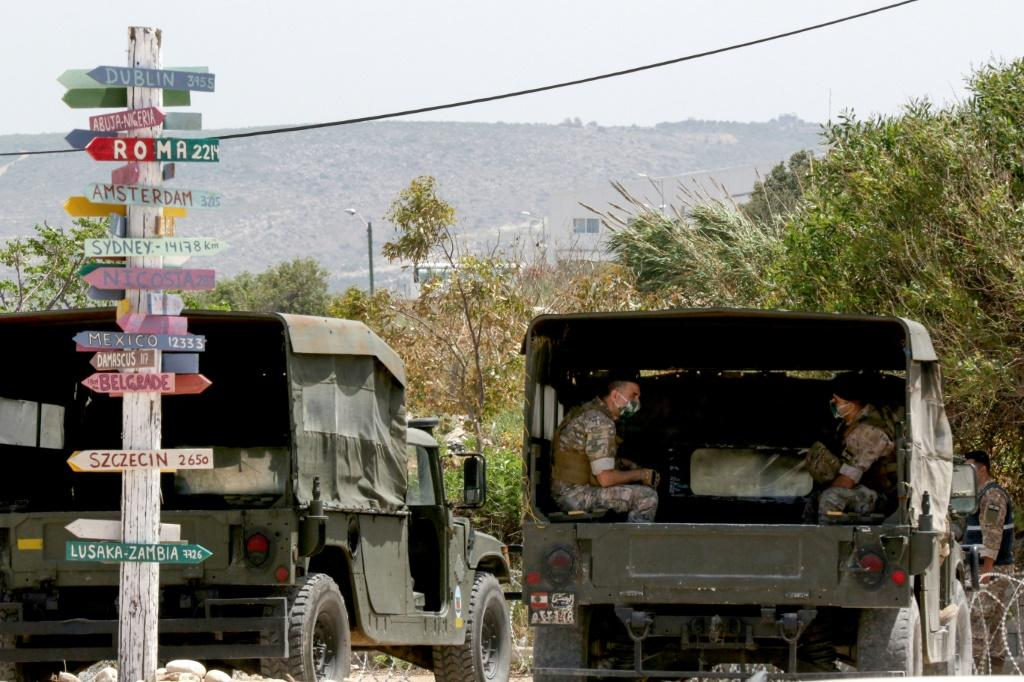 Lebanese soldiers in the southernmost town of Naqura, near the border with Israel, as indirect talks on maritime borders resume under UN and US auspices