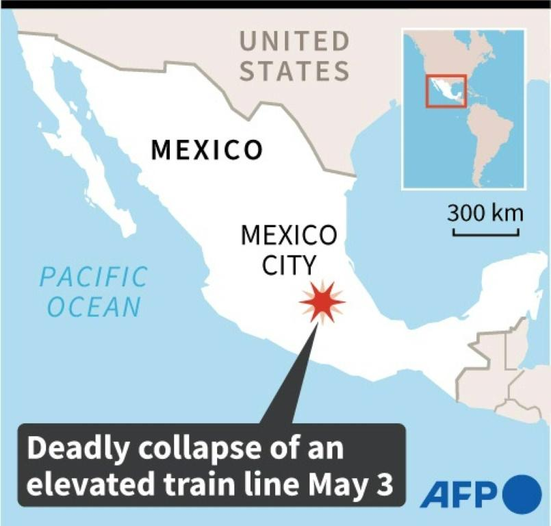 Map locating Mexico City, where a section of elevated metro tracks collapsed on Monday, causing deaths and injuries.