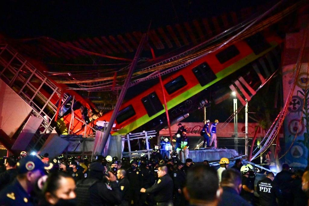 The Mexico City elevated metro line collapsed as a train was passing