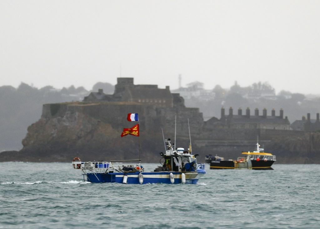 French fishing boats massed Thursday at the main port at Saint Helier, on the Channel island of Jersey