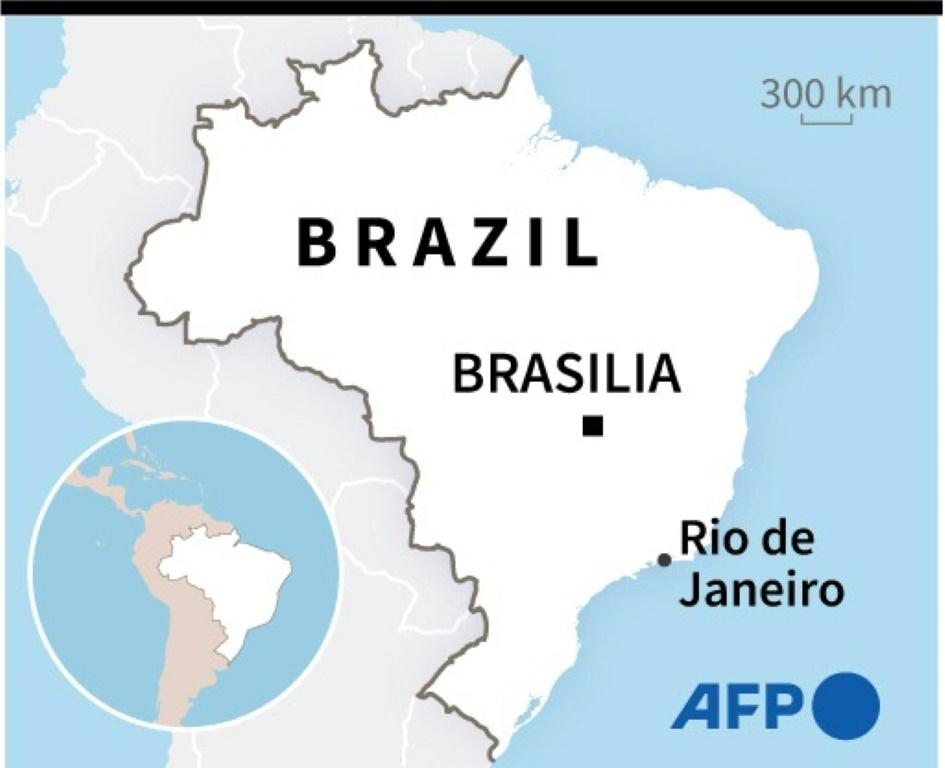 Map locating Rio de Janeiro in Brazil, where a massive police operation against drug traffickers in a favela left 25 dead, including one police officer